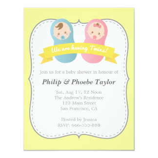 Twins Baby Shower - Cute Baby Boy and Girl Card