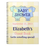 Twins Baby Shower Guestbook Spiral Note Book