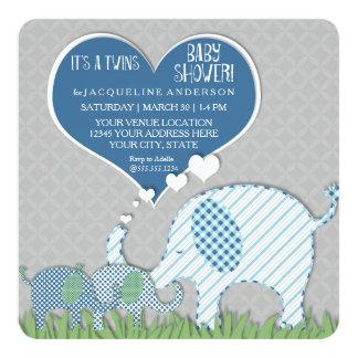 Twins Baby Shower Heart Elephants Grey Blue Green Card