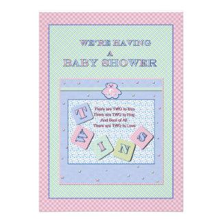 Twins Baby Shower Invitation Custom Invites