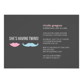 Twins Baby Shower Custom Invite