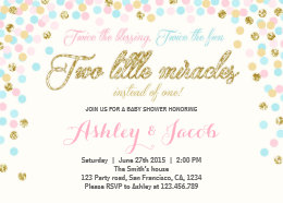 Twins baby shower invitations announcements zazzle twins baby shower invitation blush pink blue gold filmwisefo Choice Image