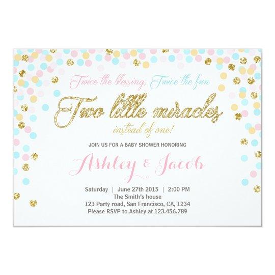 Twins Baby Shower Invitation Blush pink blue Gold Zazzlecom