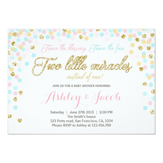 Twins Baby Shower Invitation Blush Pink Blue Gold
