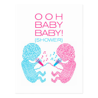 Twins Baby Shower Invitation Boy and Girl Post Card