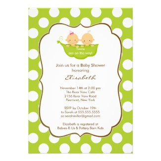 Twins Baby Shower Invitation Little Pea Pod