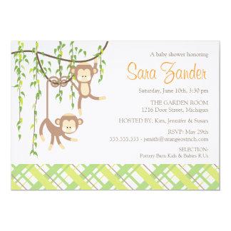 twins baby shower invitation monkeys