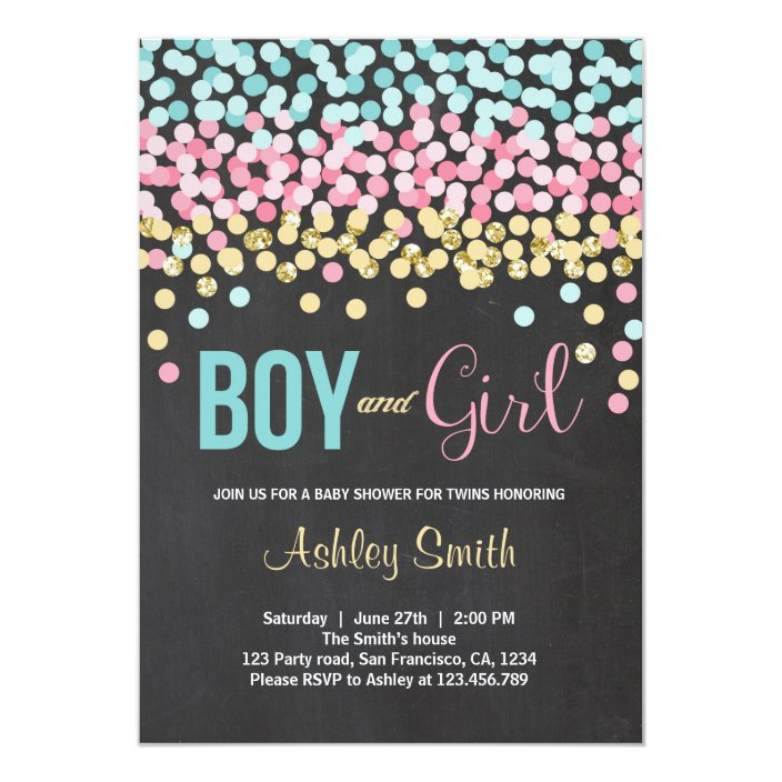 Twins Baby Shower Invitation Pink Blue Boy Girl Zazzle Com