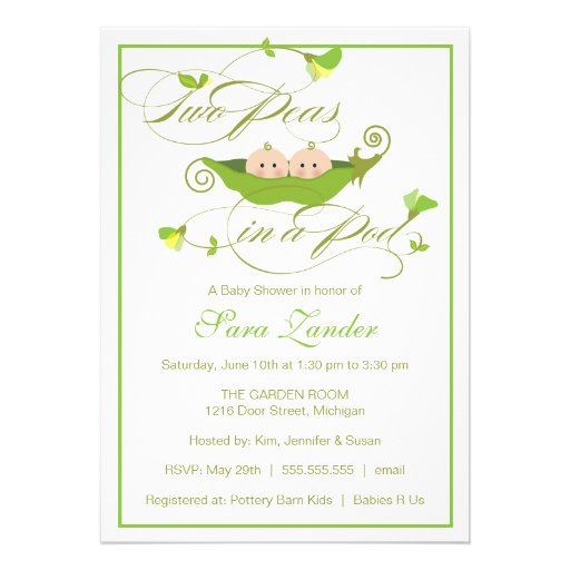 Twins Baby Shower Invitation - Two Peas in a Pod (front side)