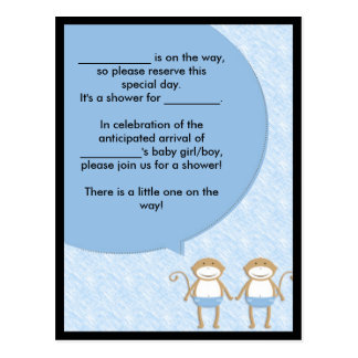 Twins Baby Shower Invite.... Speech Bubble Postcard