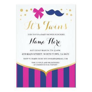 Twins Baby Shower Navy Pink Girl Boy Invite