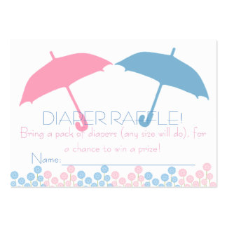 Twins Baby Shower Umbrella Diaper Raffle Tickets Large Business Cards (Pack Of 100)