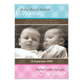 TWINS BABY THANK YOU :: harmony 1P 5x7 Paper Invitation Card
