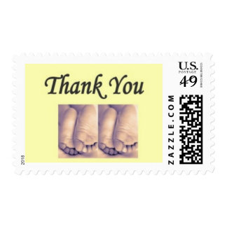 Twins Baby thank you yellow Stamps
