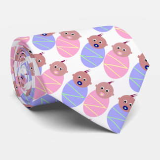 Twins  Baby with pacifier (blue and pink) Tie
