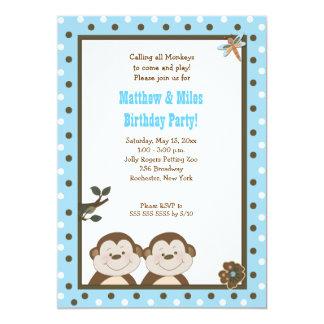 TWINS Bambino Monkey 5x7 Birthday Card