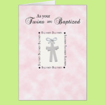 Twins Baptism Card on Pink with 2 Crosses