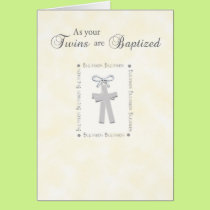 Twins Baptism Card on Yellow with 2 Crosses