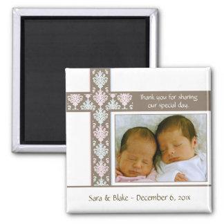 Twins Baptism/Christening Favor |  Photo Magnet