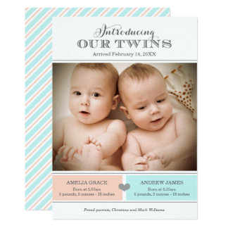 Twins Birth Announcement Card | Baby Girl and Boy
