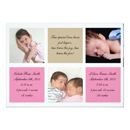 Twins birth announcement - Girls