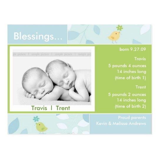 Twins Birth Announcement photo card