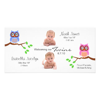 Twins Birth Announcement with Owls Photo Card Template