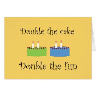 Twins Birthday Cake Greeting Card