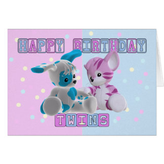 Twins Birthday Card - Pink And Blue