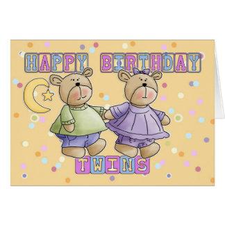Twins Birthday Card - Teddy Bears