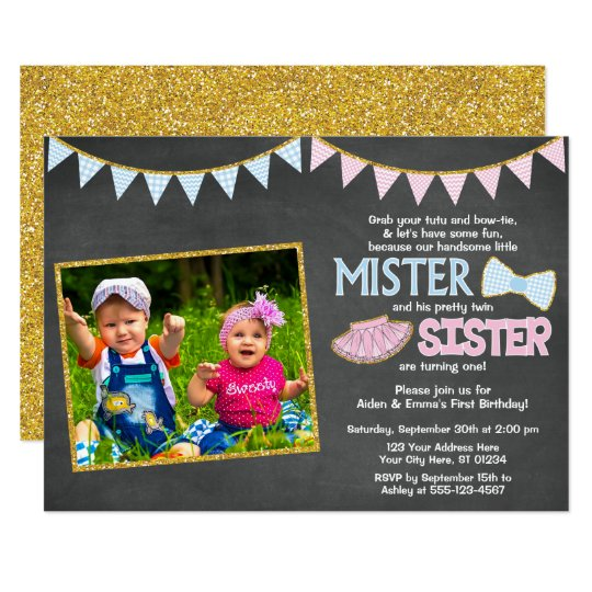 twins birthday invitation mister and sister zazzle com