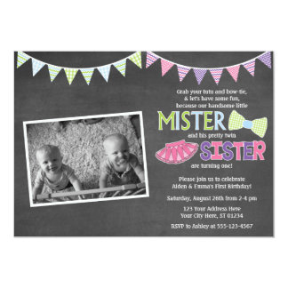 Twins Birthday Invitation - Tutus and Ties Invite