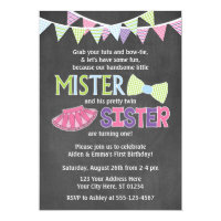 Twins Birthday Invitation | Tutus and Ties Invite