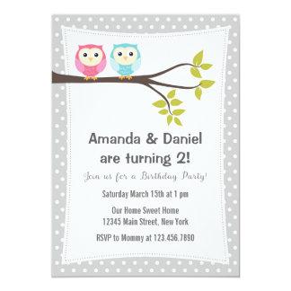Twins Birthday Party Invitation Owls