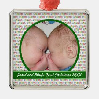 Twins Blocks First Christmas Ornament