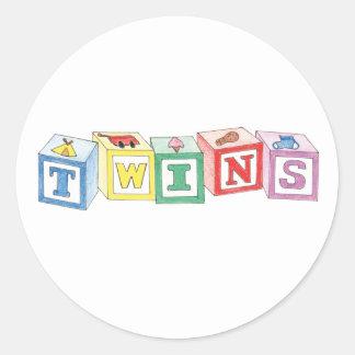 Twins Blocks Graphic Round Sticker