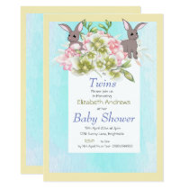 Twins Blue Floral Rabbit Shower Invitation