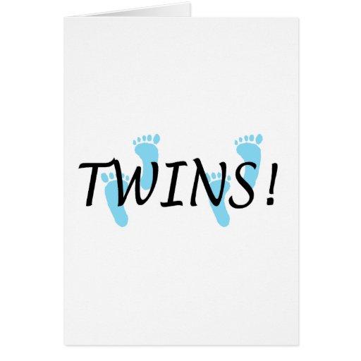 Twins (Blue Footprints) Greeting Card