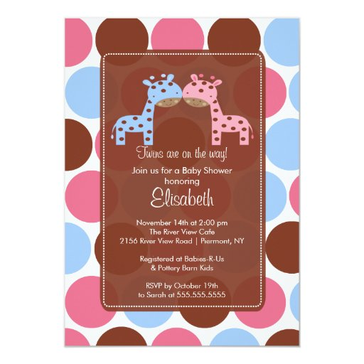 Twins Blue & Pink Giraffe Baby Shower Invitation