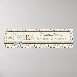 TWINS Blue Sage Brown Dots Baby Shower Banner Print
