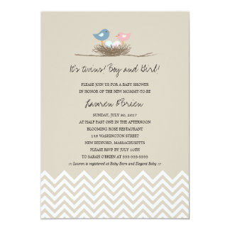 "Twins Boy and Girl Bird's Nest Baby Shower 5"" X 7"" Invitation Card"