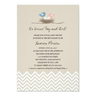 Twins Boy and Girl Bird's Nest Baby Shower Invites