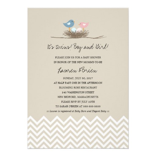 Twins Boy and Girl Bird's Nest Baby Shower Invites