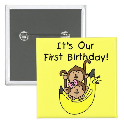Twins - Boy and Girl Monkey 1st Birthday 2 Inch Square Button