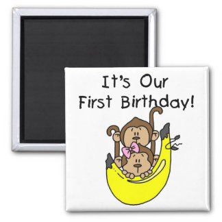 Twins - Boy and Girl Monkey 1st Birthday 2 Inch Square Magnet