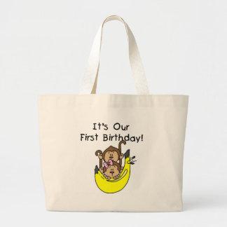 Twins - Boy and Girl Monkey 1st Birthday Tote Bag