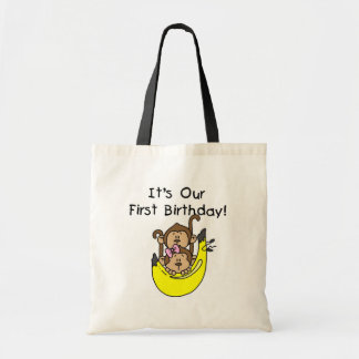 Twins - Boy and Girl Monkey 1st Birthday Tote Bags