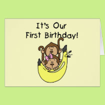 Twins - Boy and Girl Monkey 1st Birthday Card