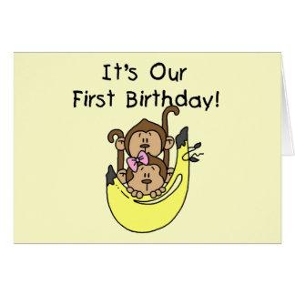 Twins - Boy and Girl Monkey 1st Birthday Card