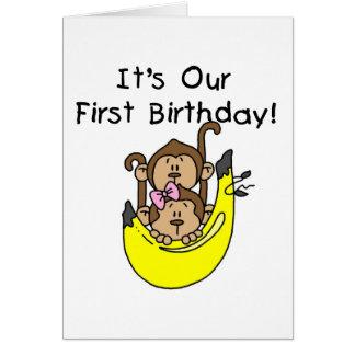 Twins - Boy and Girl Monkey 1st Birthday Greeting Card